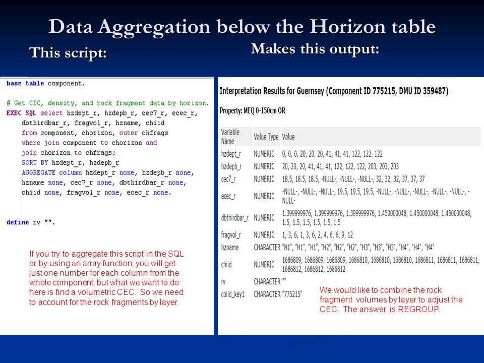 Data Aggregation below the Horizon table This script: Makes this output: arraymax finds the thickest layer, the lookup finds the pct_r that is associated with that layer If you try to aggregate this script in the SQL or by using an array function, you will get just one number for each column from the whole component, but what we want to do here is find a volumetric CEC.