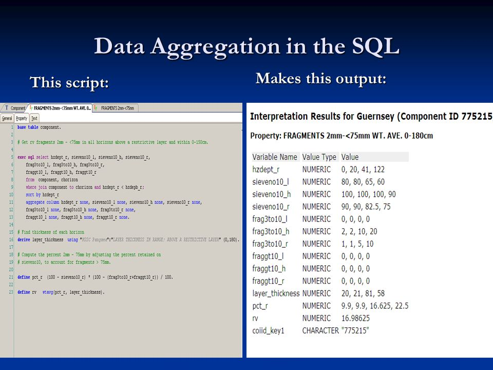 Data Aggregation in the SQL This script: Makes this output: Note aggregation of none Note a value for each layer.