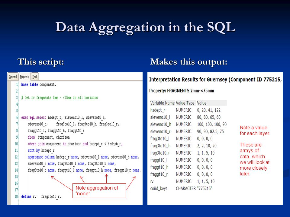 Data Aggregation in the SQL This script: Makes this output: Since default aggregation is unique, any repeats are combined.