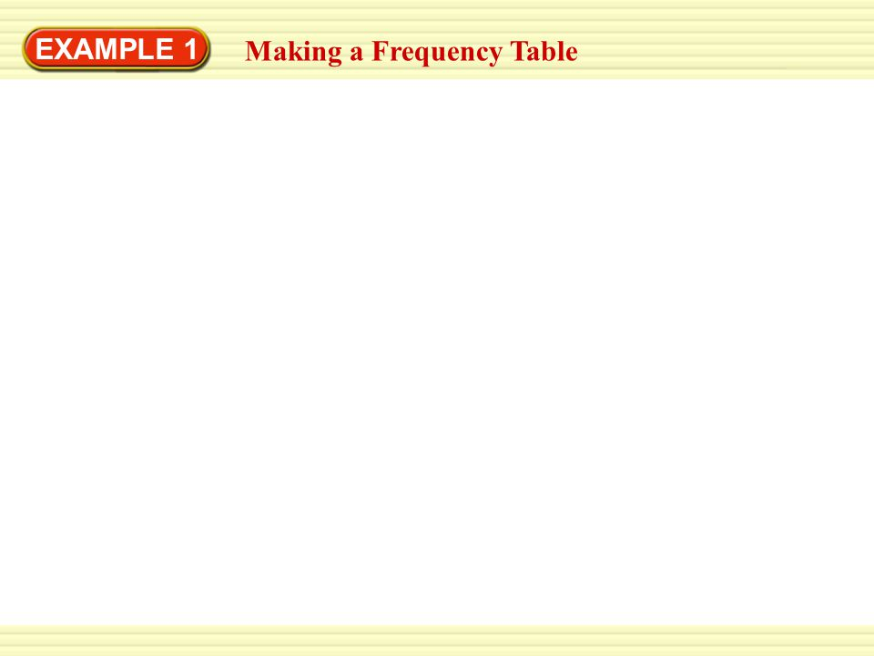 EXAMPLE 1 Making a Frequency Table