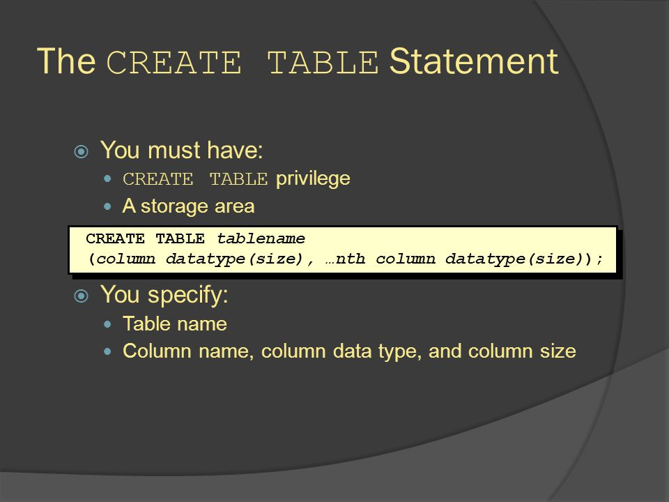 Creating Tables Create the table.Confirm table creation.