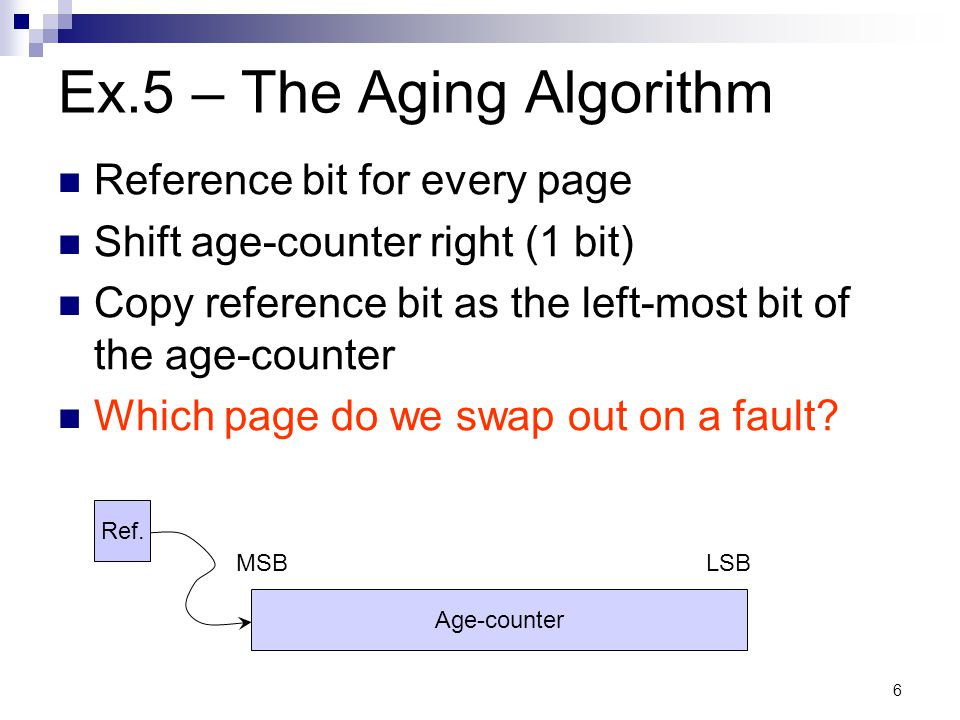 7 Ex.5 – The Aging Algorithm (cont) Problems with this algorithm.