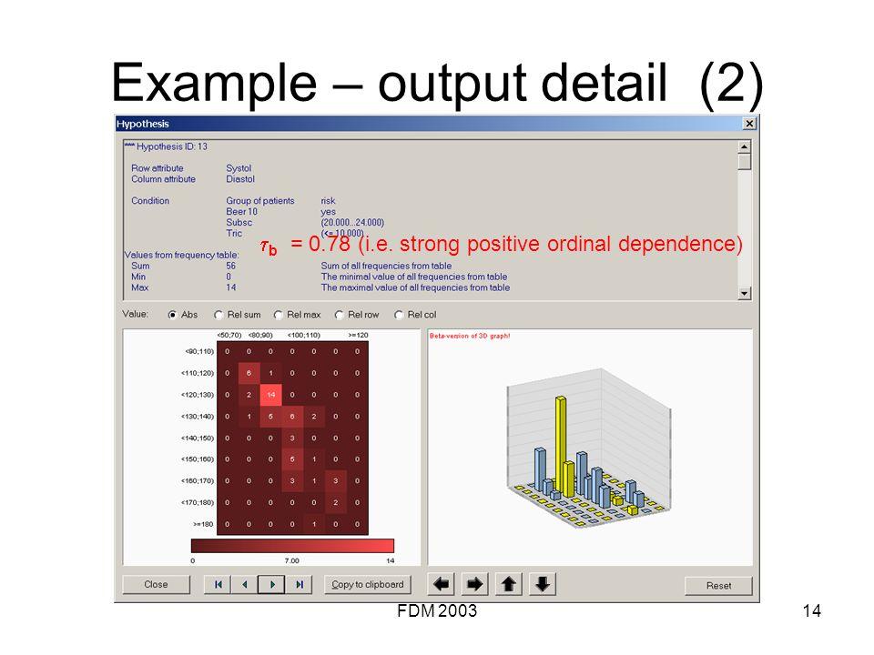 FDM 200314 Example – output detail (2) b = 0.78 (i.e. strong positive ordinal dependence)