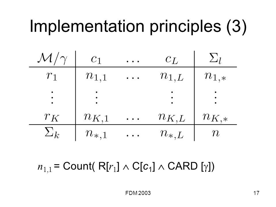 FDM 200317 Implementation principles (3) n 1,1 = Count( R[ r 1 ] C[c 1 ] CARD [ ])