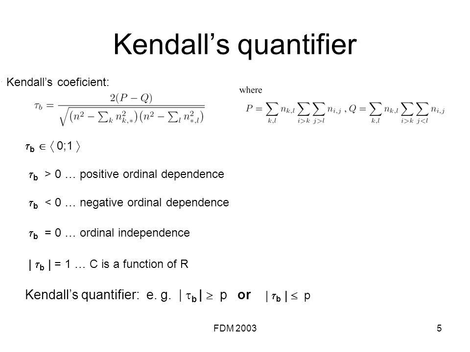 FDM 20035 Kendalls quantifier b 0;1 b > 0 … positive ordinal dependence b < 0 … negative ordinal dependence b = 0 … ordinal independence | b | = 1 … C is a function of R Kendalls quantifier: e.