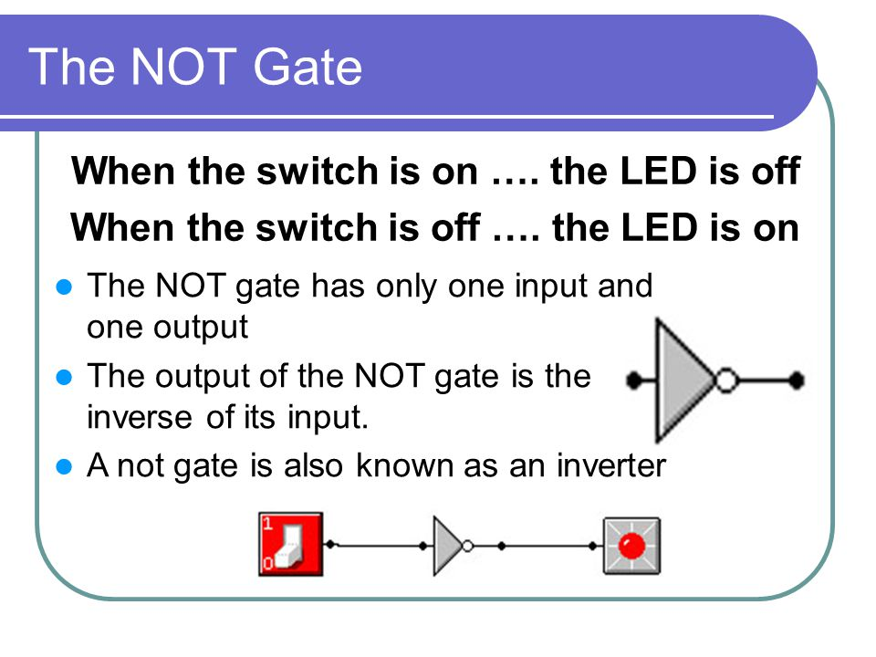 The NOT Gate When the switch is on …. the LED is off When the switch is off ….