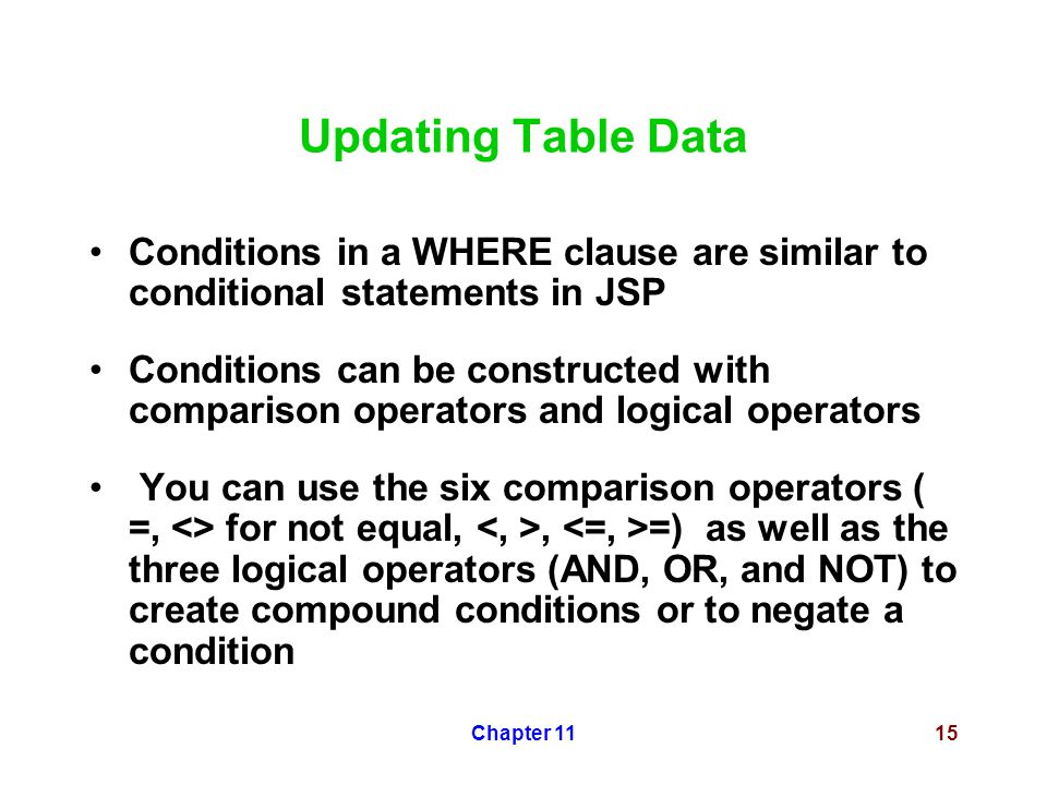 Chapter 1115 Updating Table Data Conditions in a WHERE clause are similar to conditional statements in JSP Conditions can be constructed with comparis
