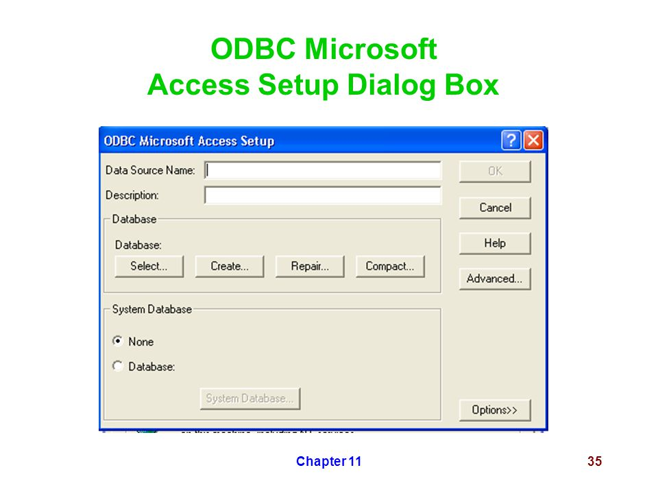 Chapter 1135 ODBC Microsoft Access Setup Dialog Box