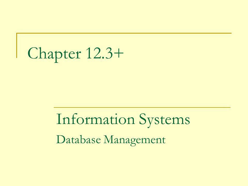 Chapter 12.3+ Information Systems Database Management