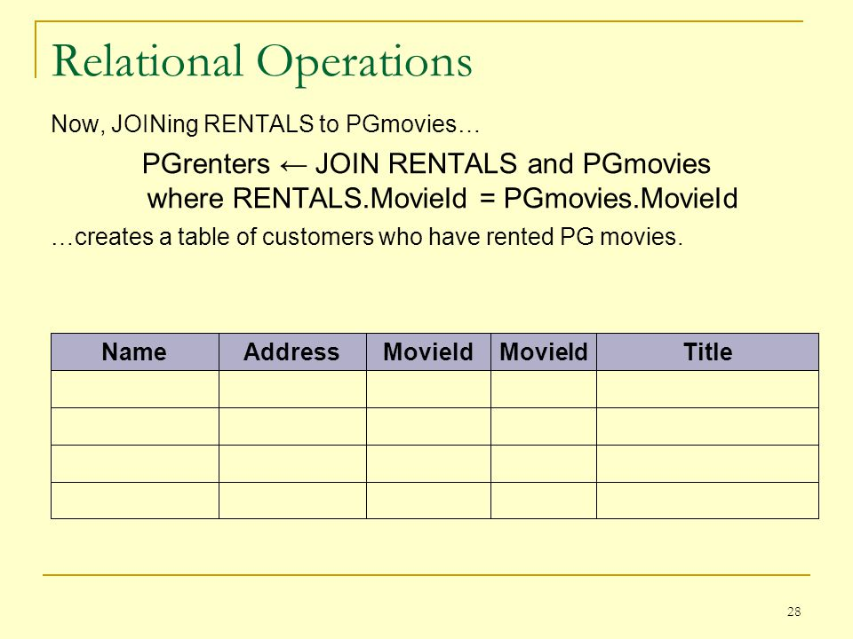 28 Relational Operations Now, JOINing RENTALS to PGmovies… PGrenters JOIN RENTALS and PGmovies where RENTALS.MovieId = PGmovies.MovieId …creates a table of customers who have rented PG movies.