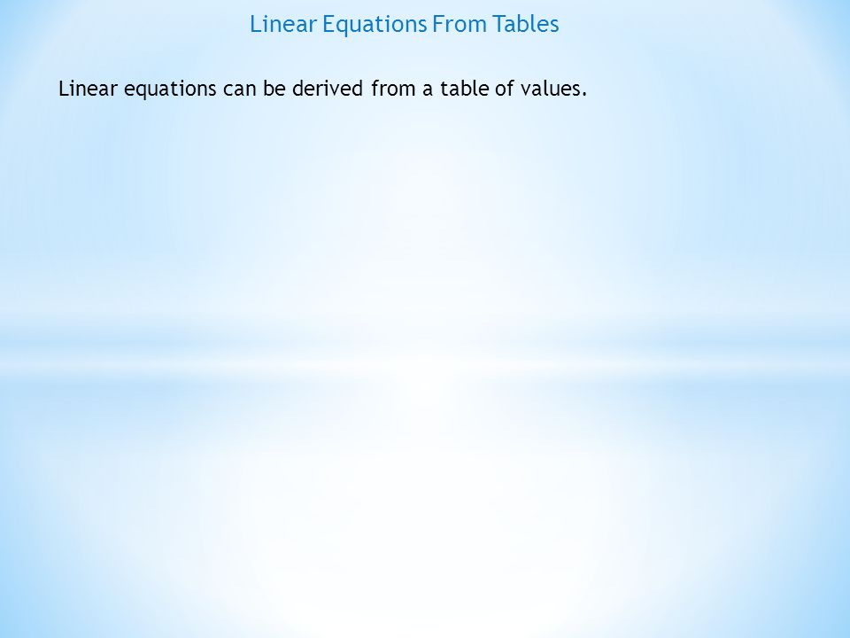 Linear Equations From Tables EXAMPLE # 1 : Find the equation of the line from the given table xY 1 04 17 210 313