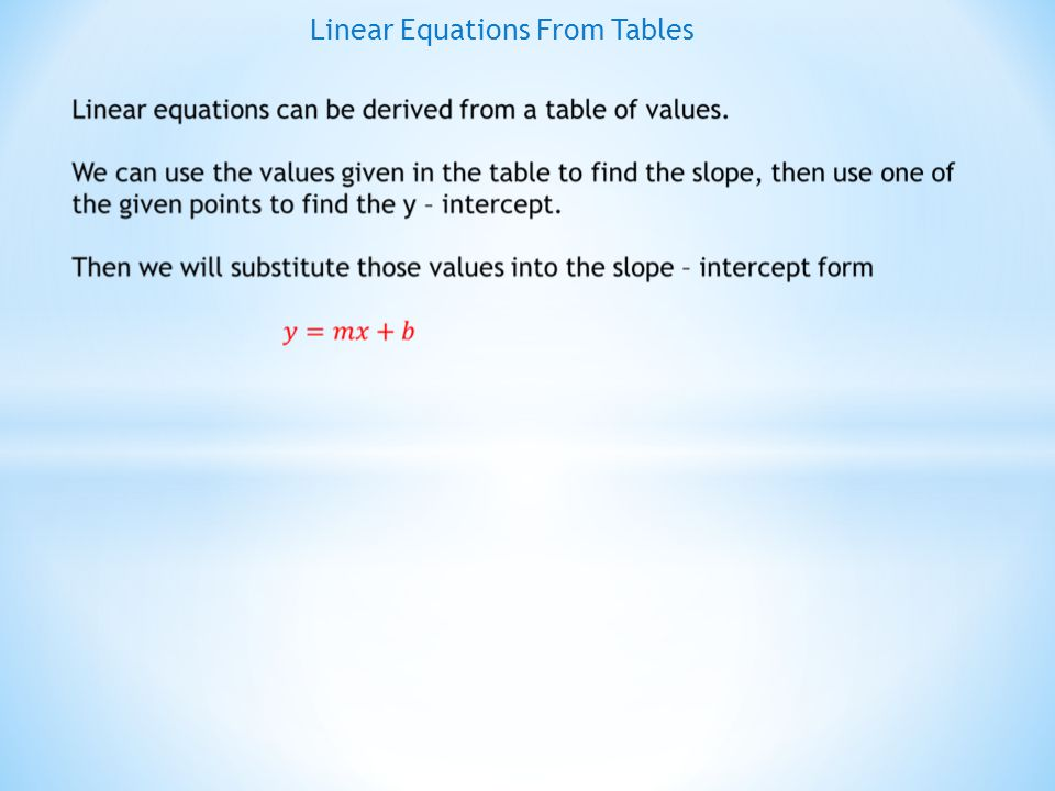 EXAMPLE # 1 : Find the equation of the line from the given table xY 1 04 17 210 313