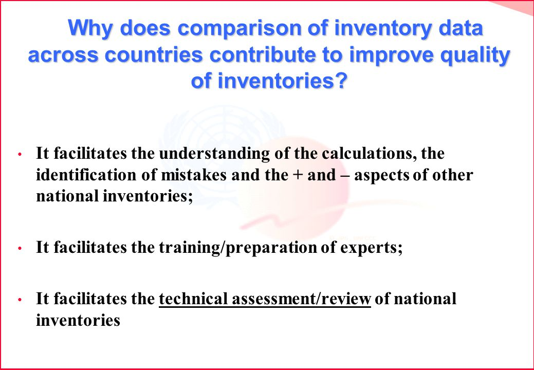 Why does comparison of inventory data across countries contribute to improve quality of inventories.