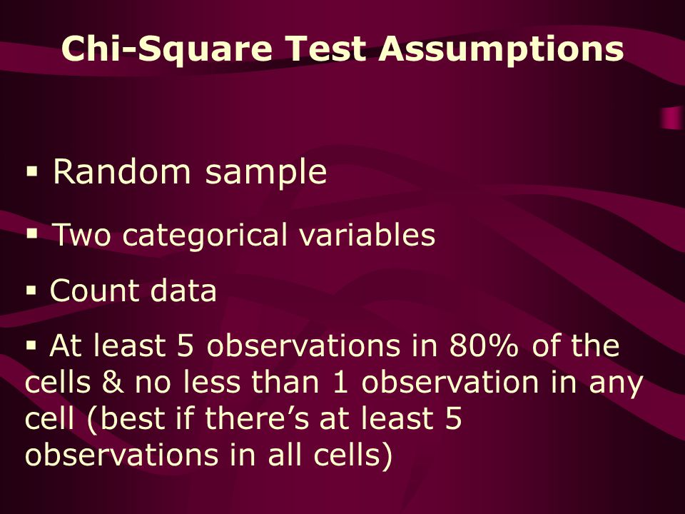 Chi-Square Test Assumptions Random sample Two categorical variables Count data At least 5 observations in 80% of the cells & no less than 1 observation in any cell (best if theres at least 5 observations in all cells)