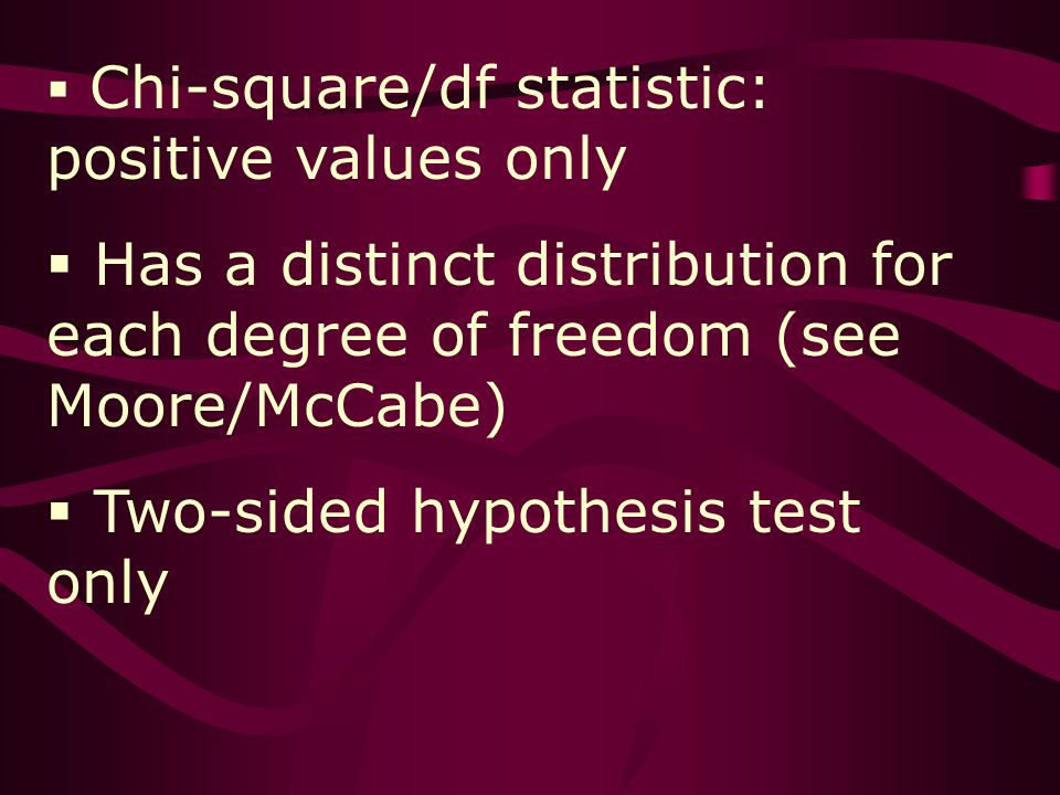 Chi-square/df statistic: positive values only Has a distinct distribution for each degree of freedom (see Moore/McCabe) Two-sided hypothesis test only