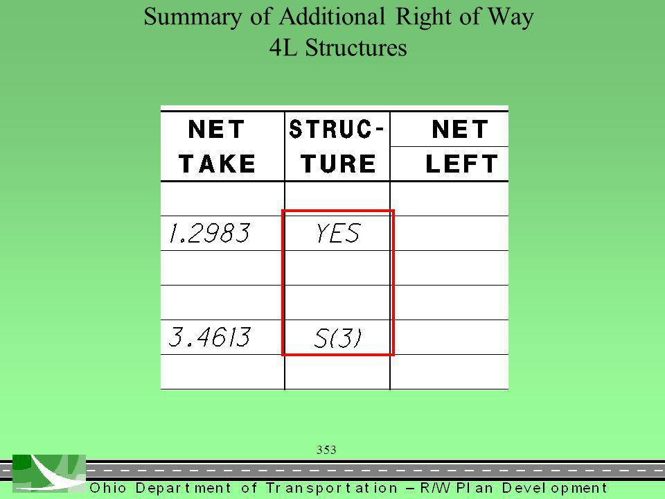 353 Summary of Additional Right of Way 4L Structures