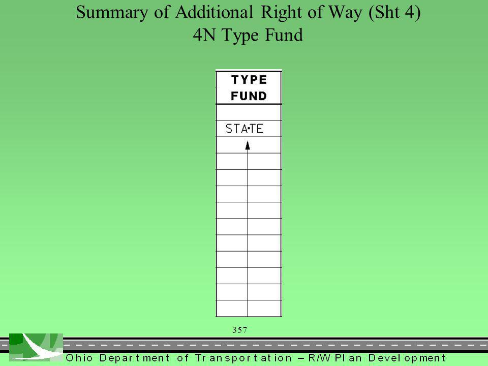 357 Summary of Additional Right of Way (Sht 4) 4N Type Fund