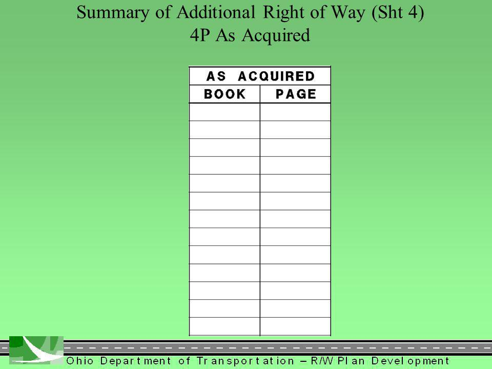 361 Summary of Additional Right of Way (Sht 4) 4P As Acquired