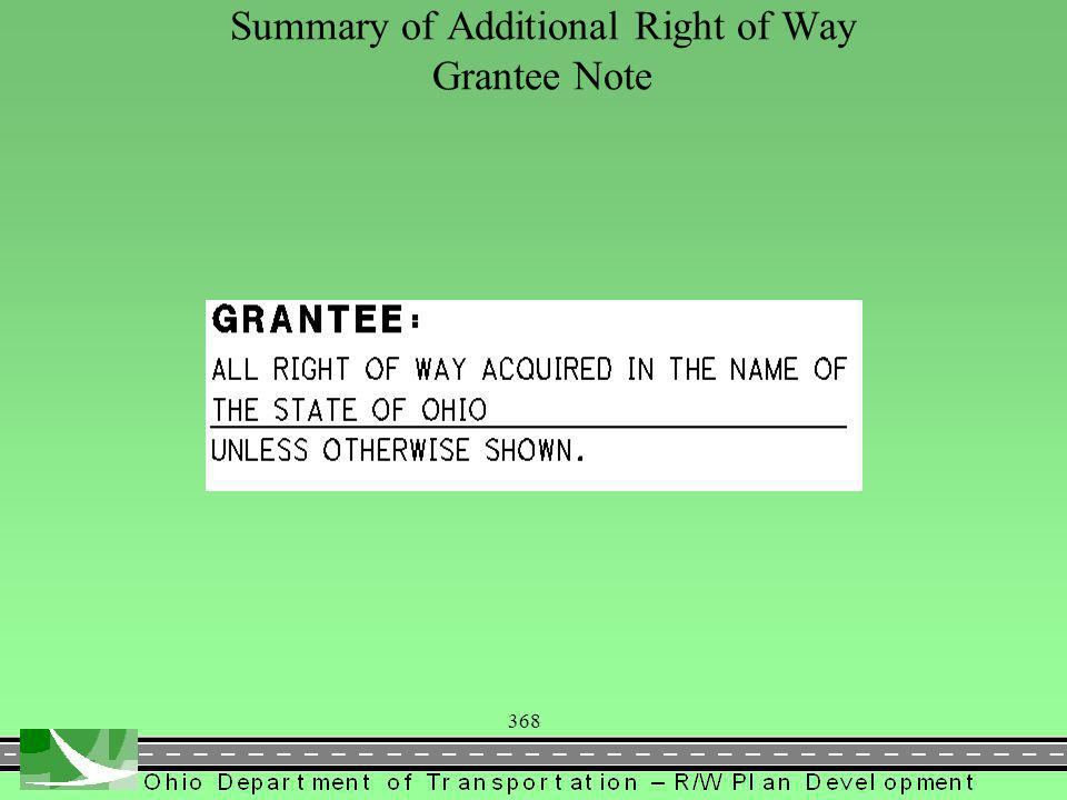 368 Summary of Additional Right of Way Grantee Note