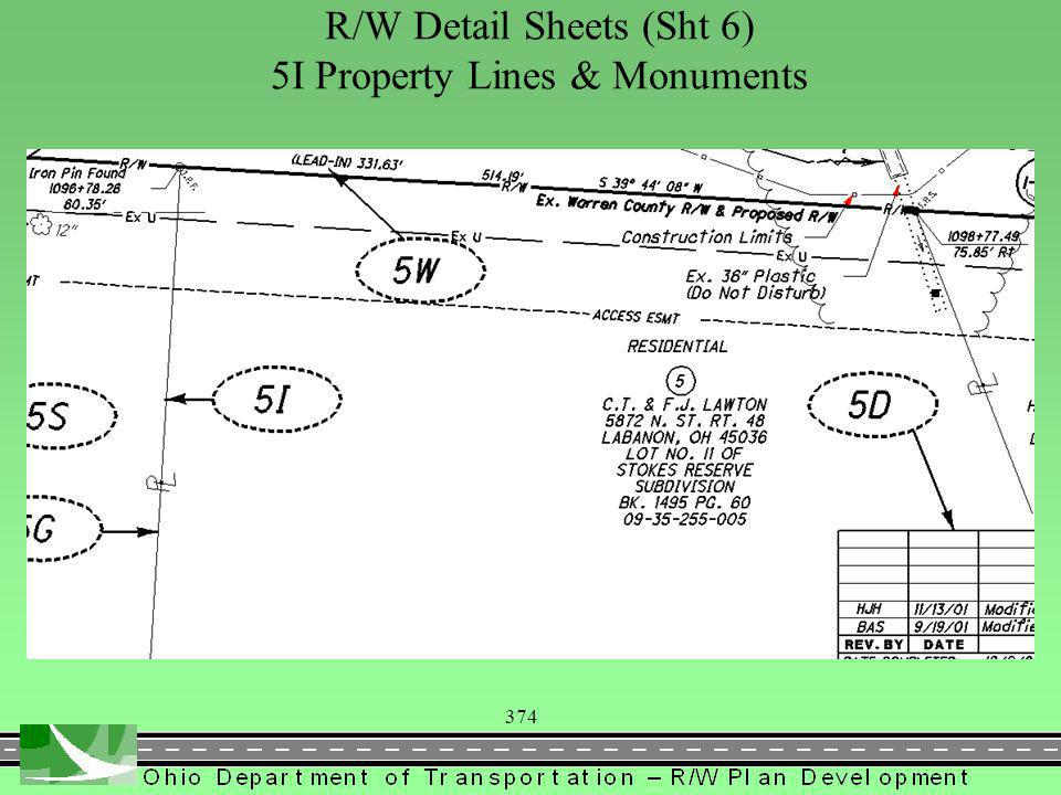 374 R/W Detail Sheets (Sht 6) 5I Property Lines & Monuments