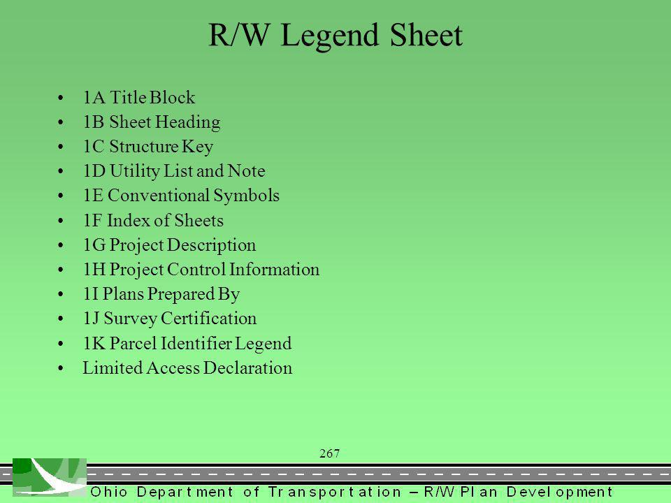 267 R/W Legend Sheet 1A Title Block 1B Sheet Heading 1C Structure Key 1D Utility List and Note 1E Conventional Symbols 1F Index of Sheets 1G Project Description 1H Project Control Information 1I Plans Prepared By 1J Survey Certification 1K Parcel Identifier Legend Limited Access Declaration