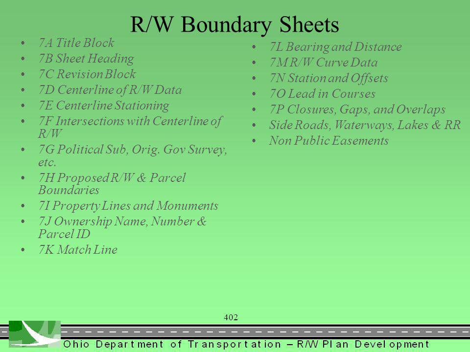 402 R/W Boundary Sheets 7A Title Block 7B Sheet Heading 7C Revision Block 7D Centerline of R/W Data 7E Centerline Stationing 7F Intersections with Centerline of R/W 7G Political Sub, Orig.