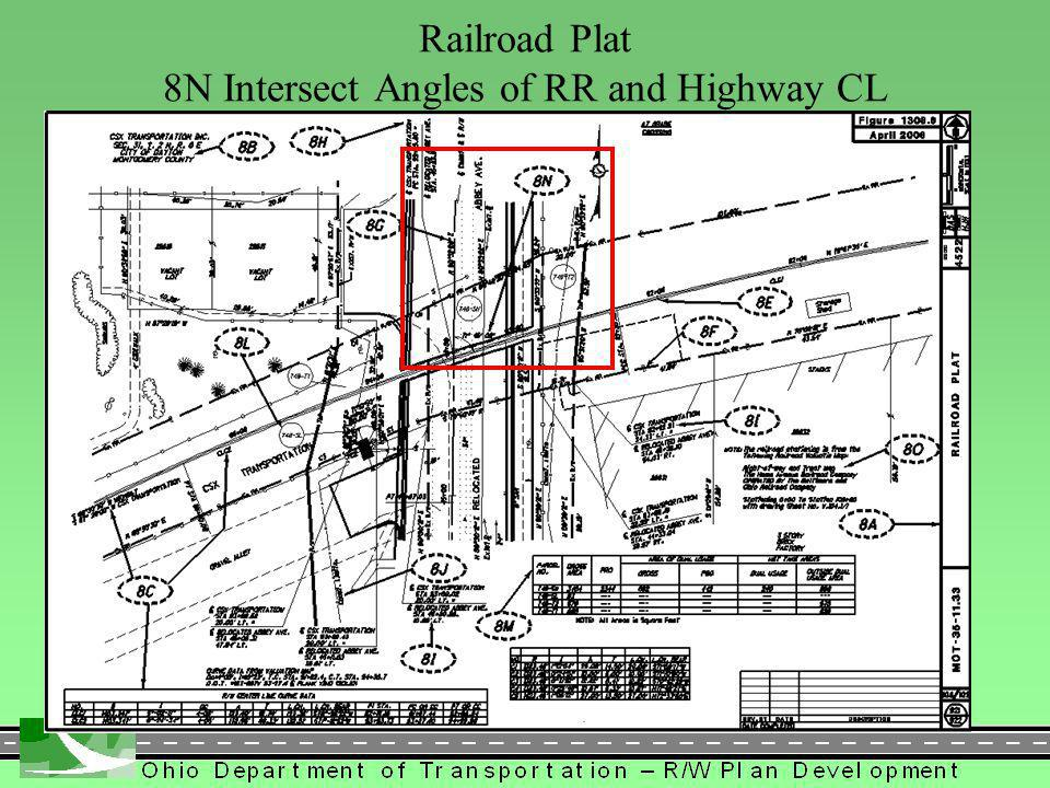 423 Railroad Plat 8N Intersect Angles of RR and Highway CL