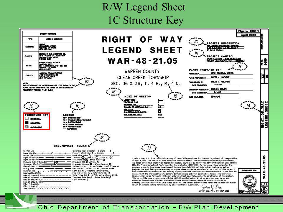 272 R/W Legend Sheet 1C Structure Key