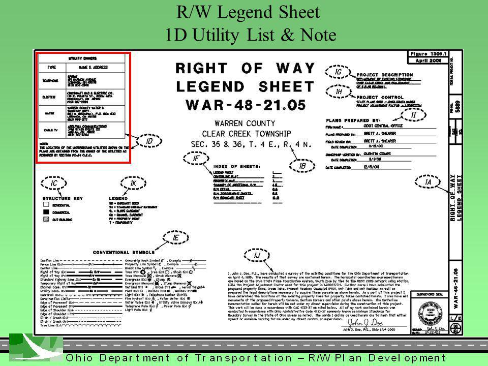 274 R/W Legend Sheet 1D Utility List & Note