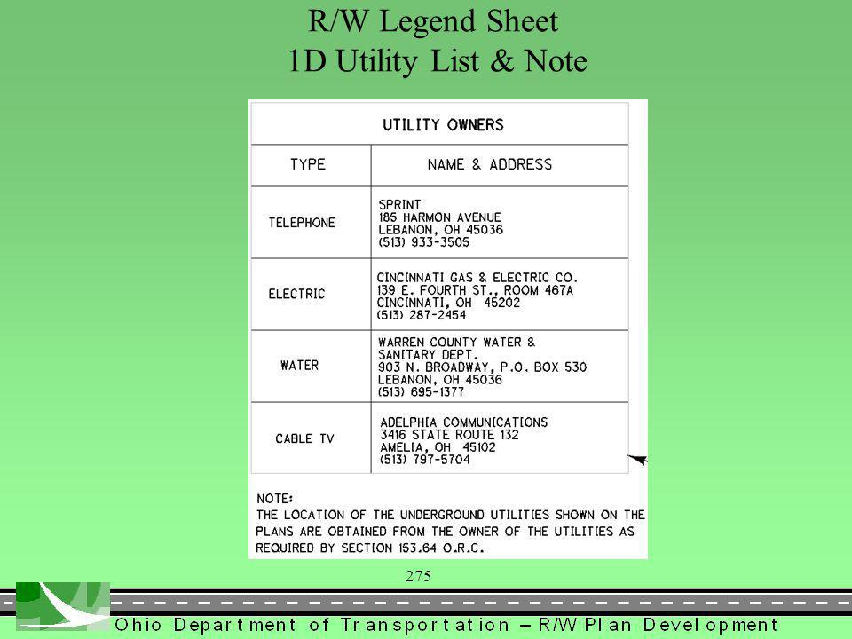 275 R/W Legend Sheet 1D Utility List & Note