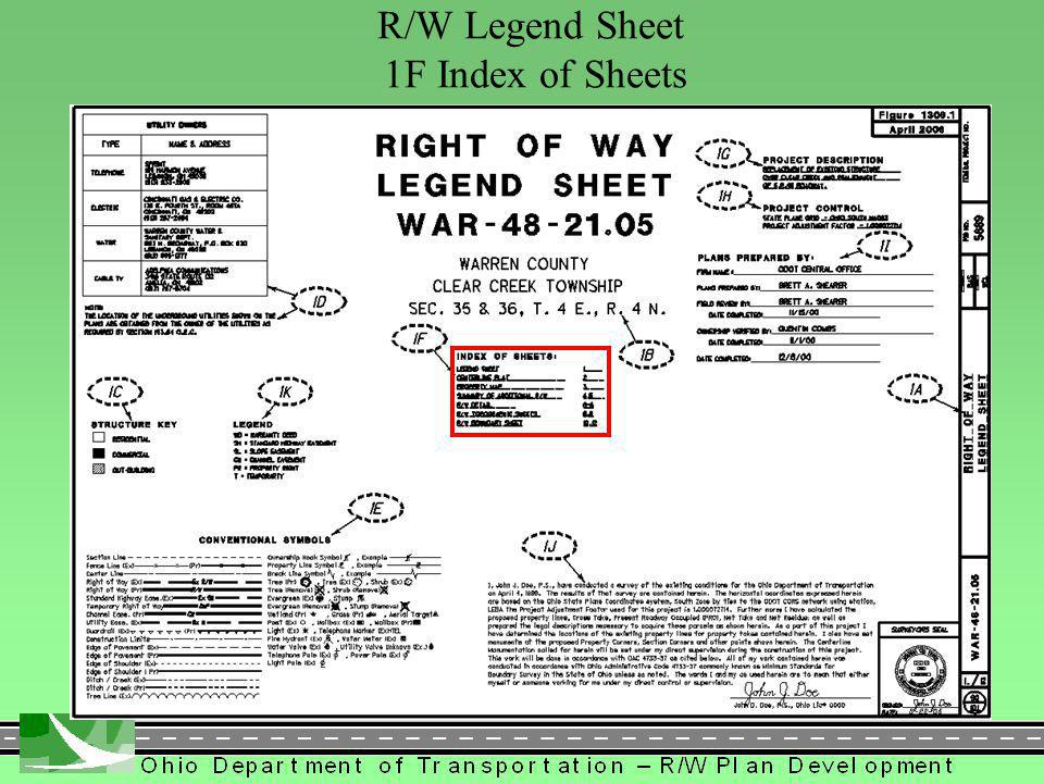 278 R/W Legend Sheet 1F Index of Sheets