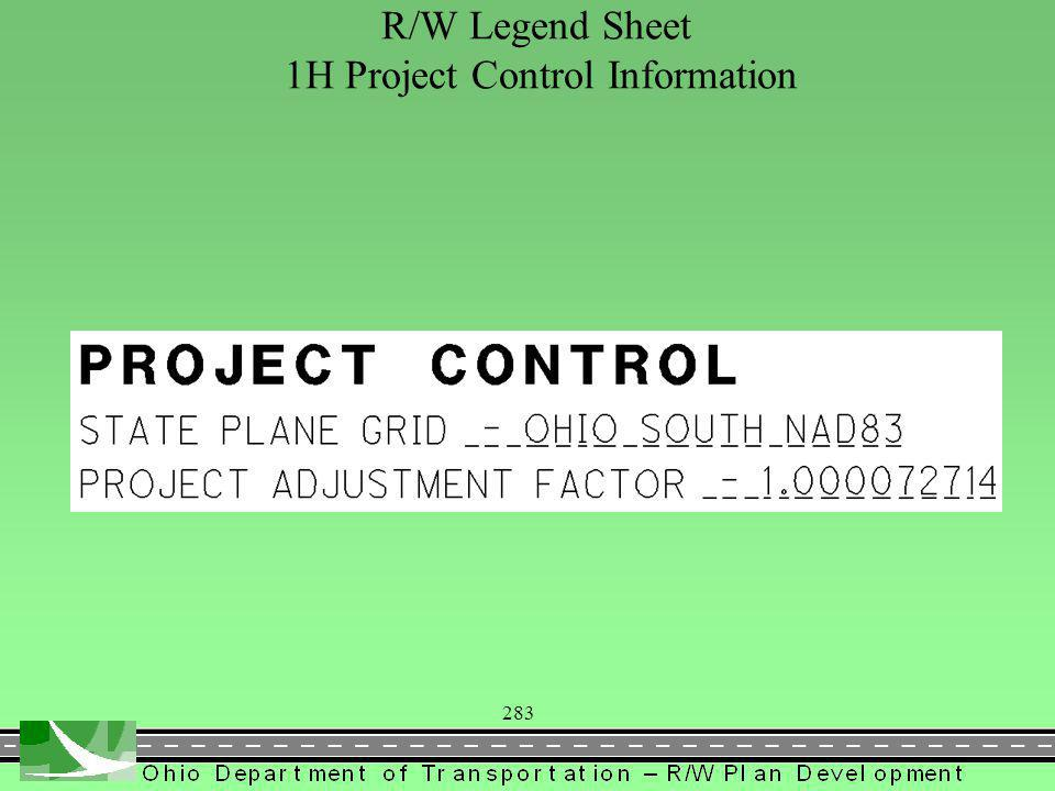 283 R/W Legend Sheet 1H Project Control Information