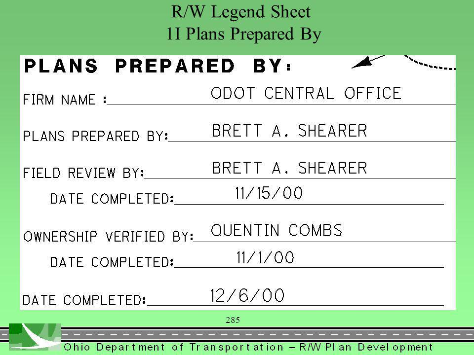 285 R/W Legend Sheet 1I Plans Prepared By