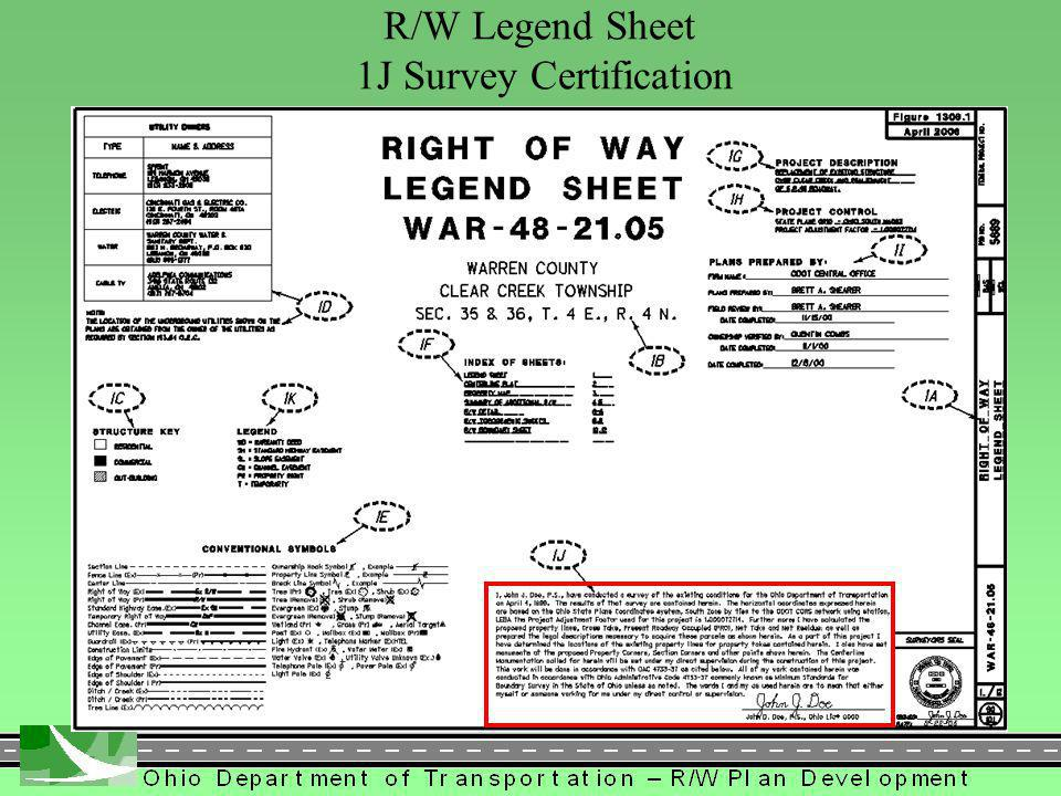 286 R/W Legend Sheet 1J Survey Certification