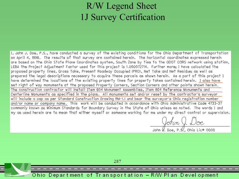 287 R/W Legend Sheet 1J Survey Certification