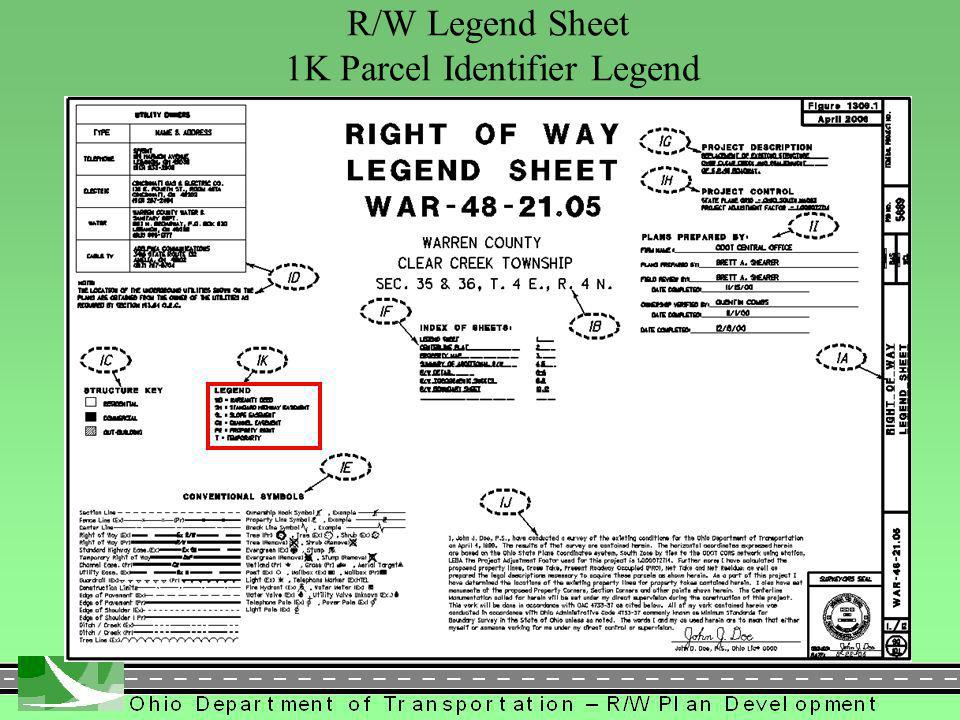 288 R/W Legend Sheet 1K Parcel Identifier Legend