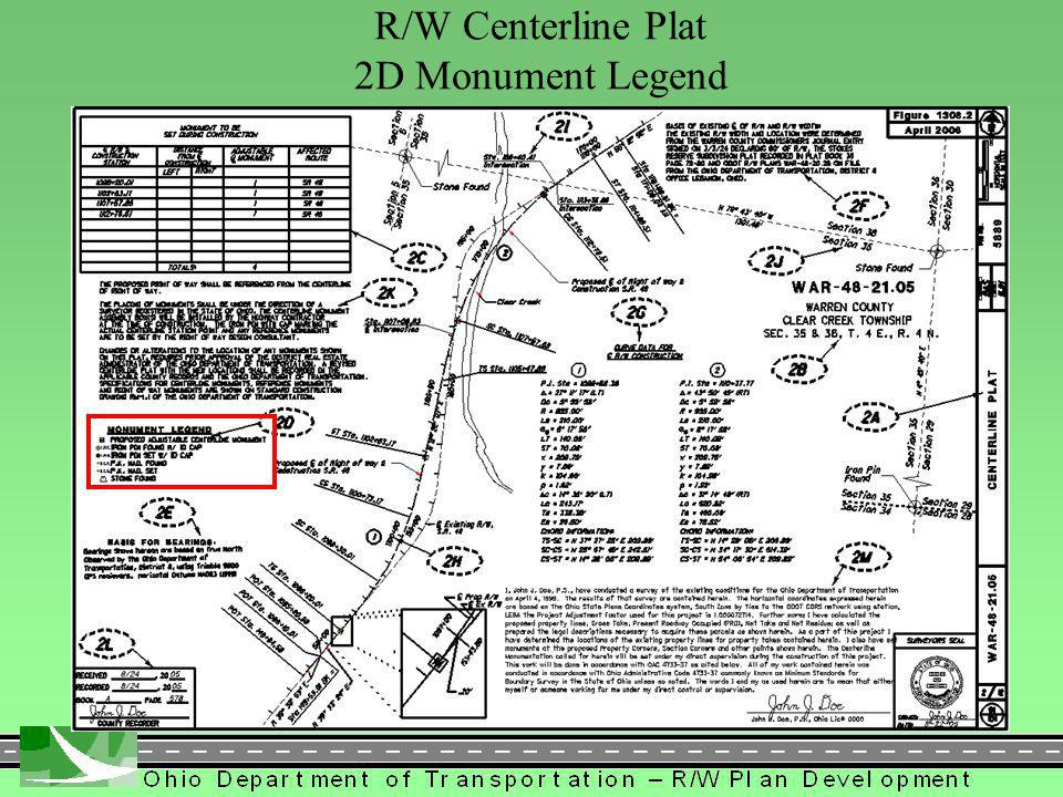 297 R/W Centerline Plat 2D Monument Legend