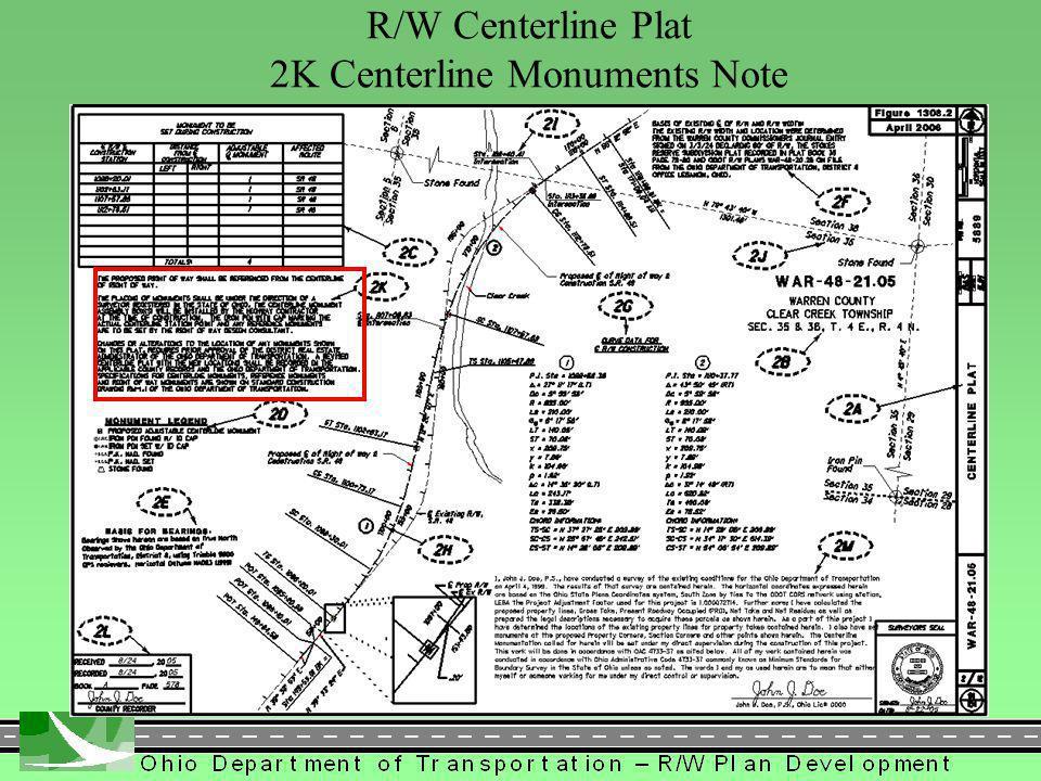 311 R/W Centerline Plat 2K Centerline Monuments Note