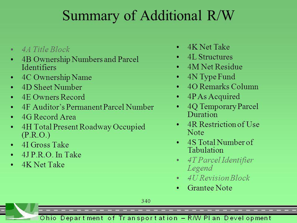 340 Summary of Additional R/W 4A Title Block 4B Ownership Numbers and Parcel Identifiers 4C Ownership Name 4D Sheet Number 4E Owners Record 4F Auditors Permanent Parcel Number 4G Record Area 4H Total Present Roadway Occupied (P.R.O.) 4I Gross Take 4J P.R.O.
