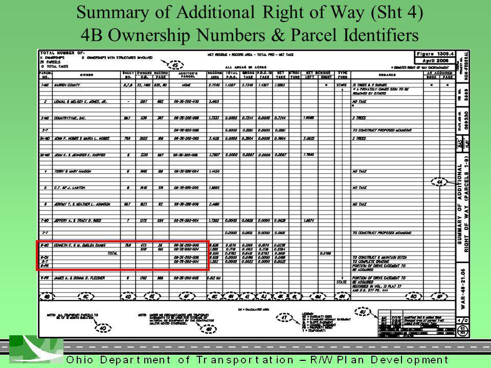 341 Summary of Additional Right of Way (Sht 4) 4B Ownership Numbers & Parcel Identifiers