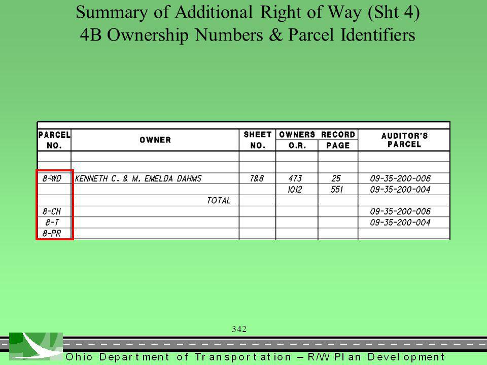 342 Summary of Additional Right of Way (Sht 4) 4B Ownership Numbers & Parcel Identifiers