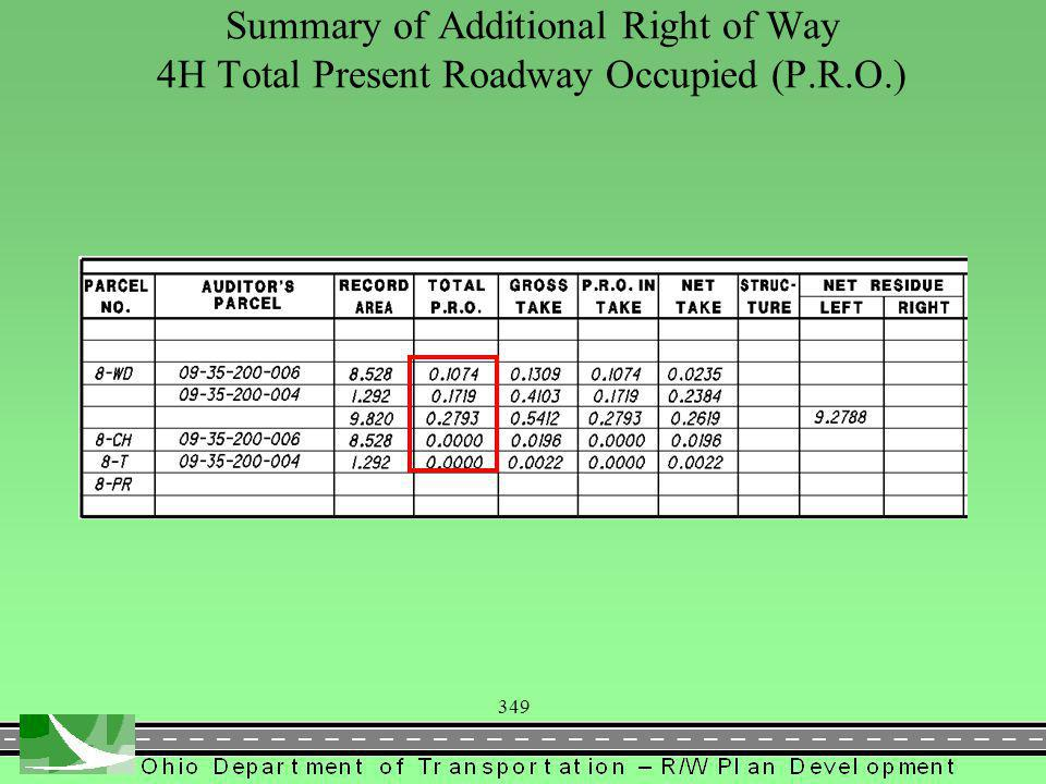 349 Summary of Additional Right of Way 4H Total Present Roadway Occupied (P.R.O.)