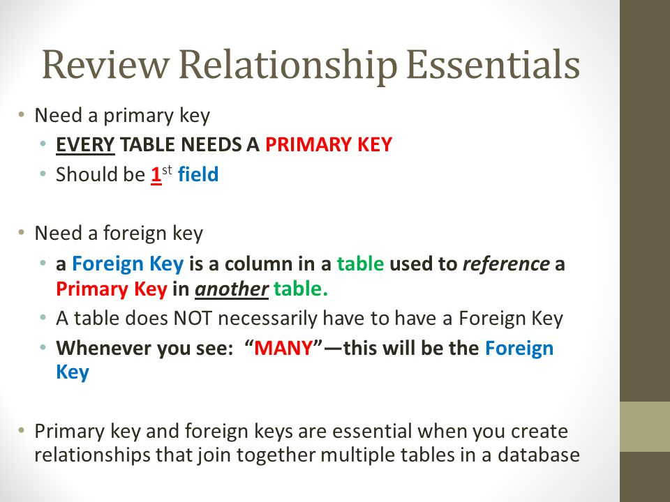 Review Relationship Essentials Need a primary key EVERY TABLE NEEDS A PRIMARY KEY Should be 1 st field Need a foreign key a Foreign Key is a column in