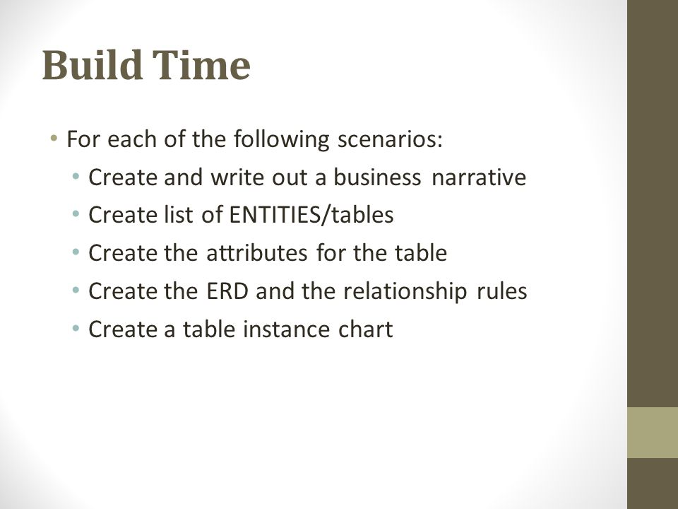 Build Time For each of the following scenarios: Create and write out a business narrative Create list of ENTITIES/tables Create the attributes for the
