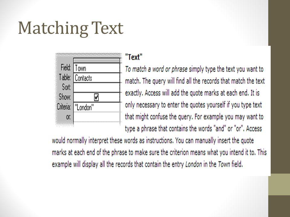 Matching Text