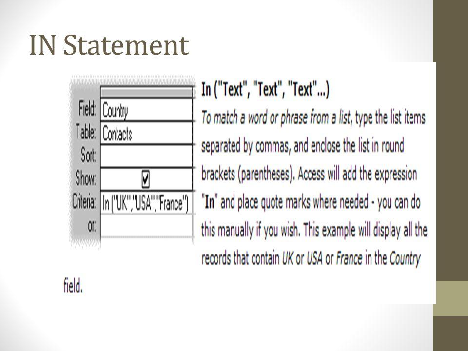 IN Statement