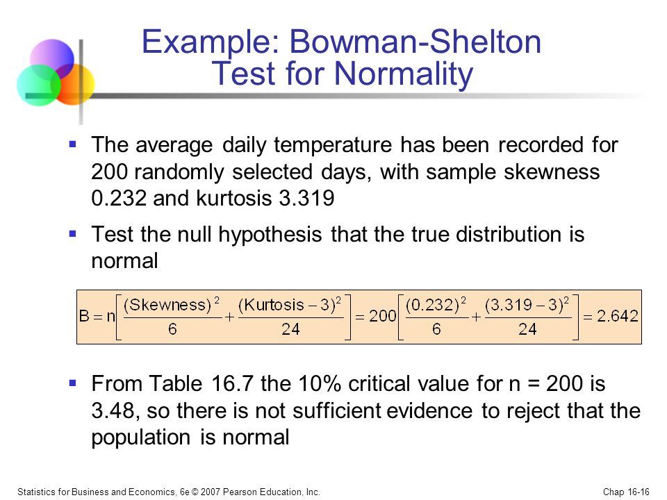 Statistics for Business and Economics, 6e © 2007 Pearson Education, Inc. Chap 16-16 The average daily temperature has been recorded for 200 randomly s
