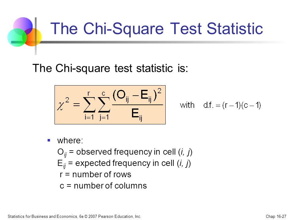 Statistics for Business and Economics, 6e © 2007 Pearson Education, Inc. Chap 16-27 The Chi-Square Test Statistic where: O ij = observed frequency in