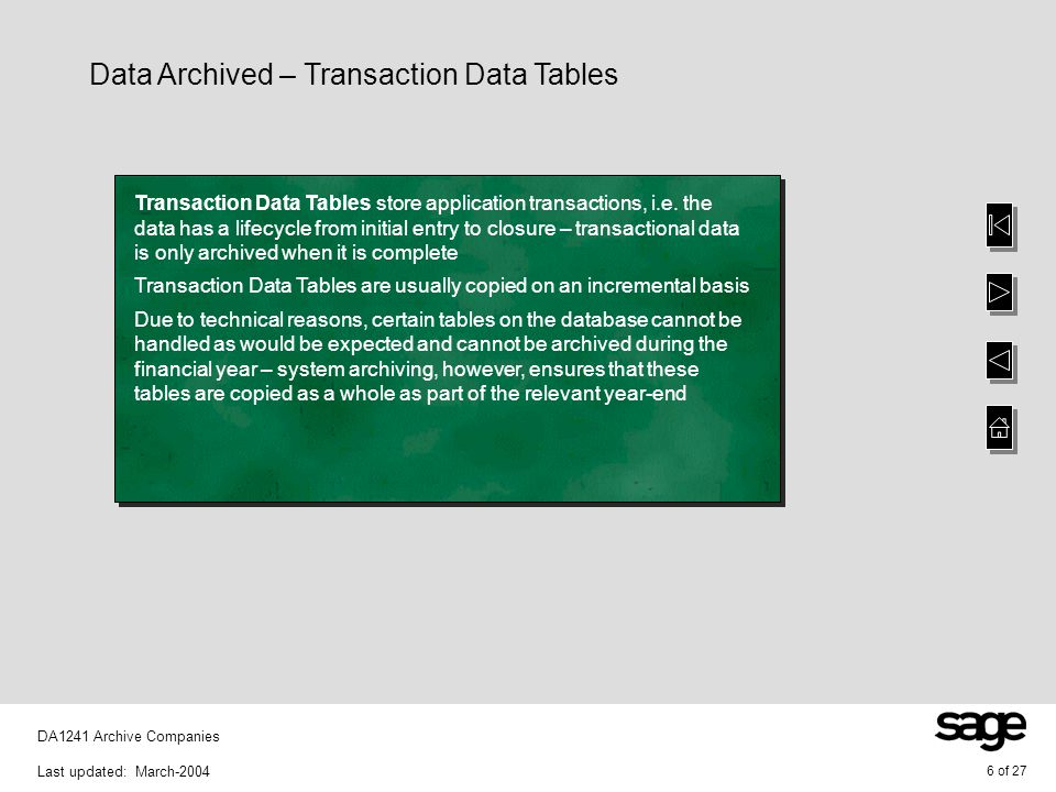 6 of 27 DA1241 Archive Companies Last updated: March-2004 Data Archived – Transaction Data Tables Transaction Data Tables store application transactio