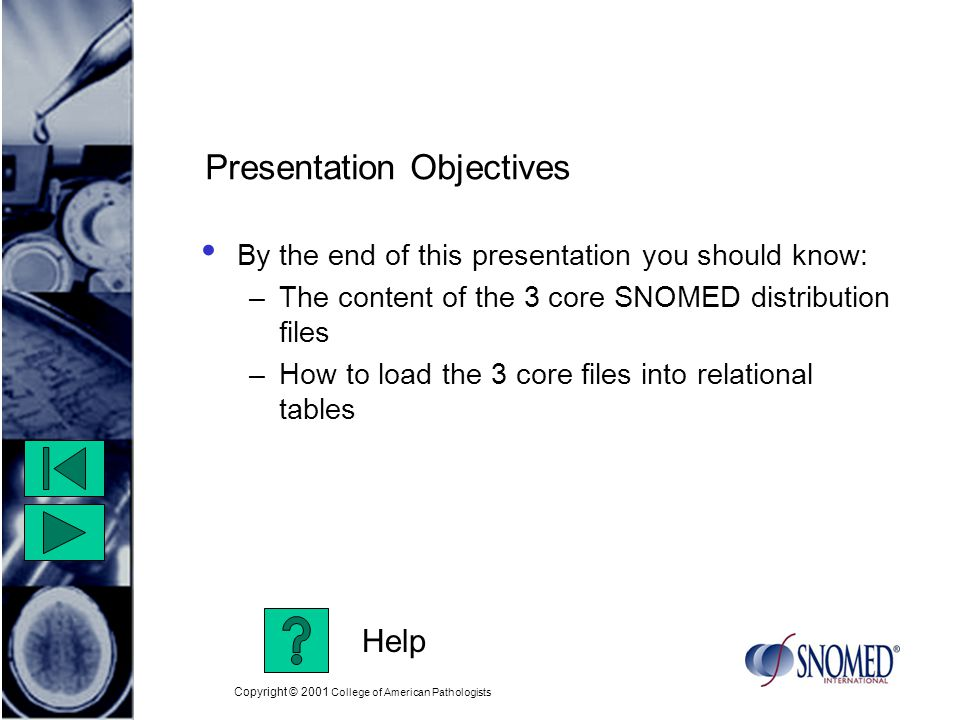Copyright © 2001 College of American Pathologists Presentation Objectives By the end of this presentation you should know: –The content of the 3 core SNOMED distribution files –How to load the 3 core files into relational tables Help